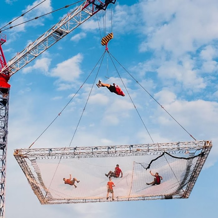 We Built The World's Biggest Trampoline And Performed Crazy Trampoline Flips And Tricks 100 Ft From The Ground