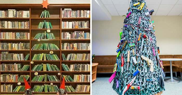 Here's How Employees From Different Industries Decorated Their Workplaces With Very Fitting Christmas Trees (30 Pics)