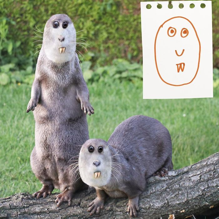 Dad Photoshops Kids' Drawings As If They Were Real, And It's Terrifyingly Funny (30 New Pics)