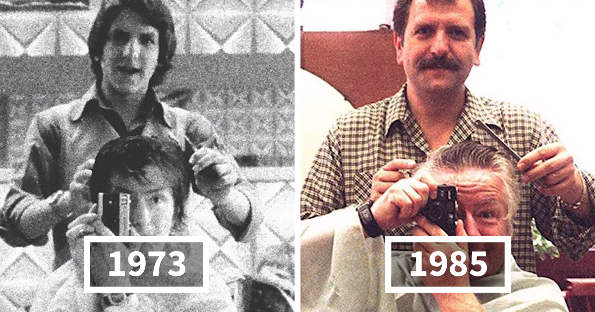 Man Snaps A Mirror Selfie With His Barber In The 1970s, Continues The Tradition For 40 Years