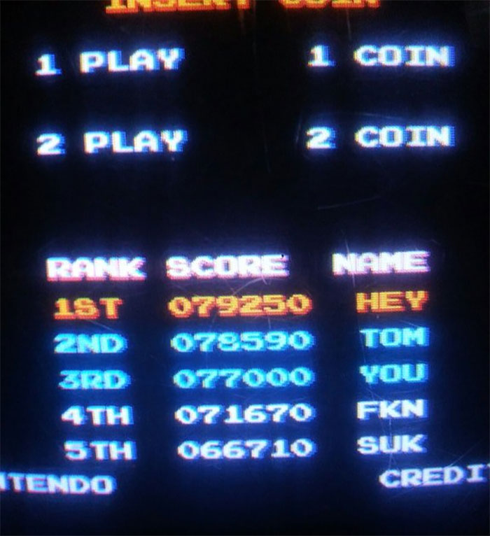 Tom Beat This Guy's Score On Mario Bros, So He Took His Revenge With This Nice Little Message