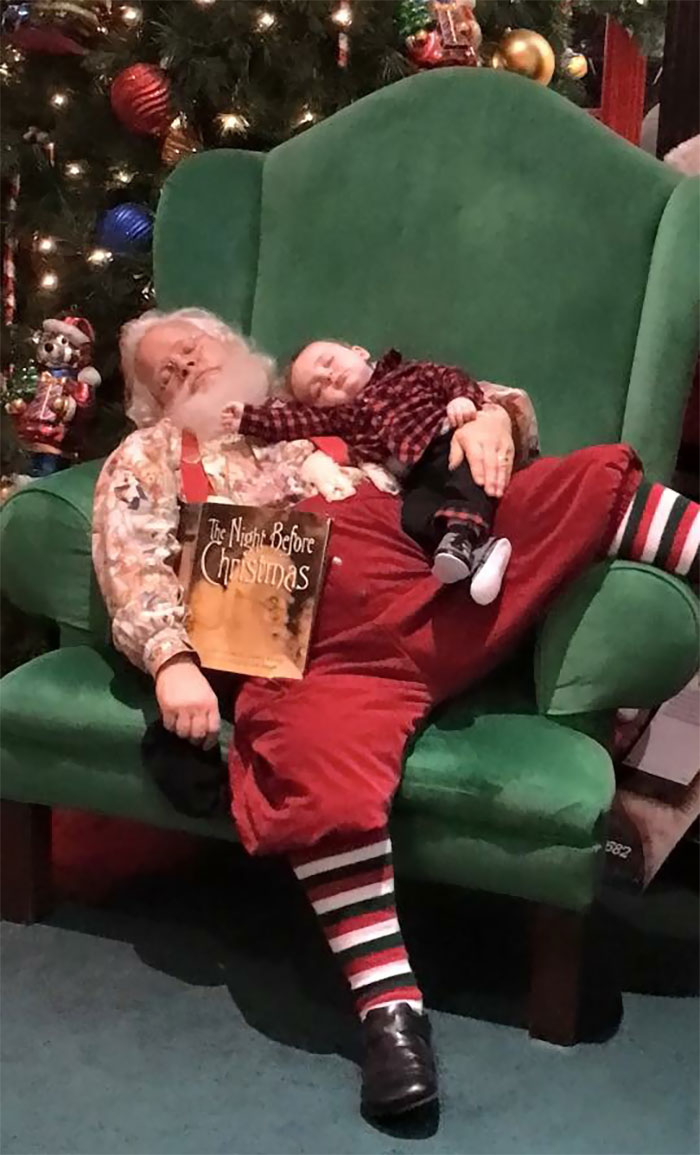 While Waiting In Line To See Santa, This Baby Fell Asleep. When It Came Time For The Picture, Santa Told The Parents Not To Wake Him
