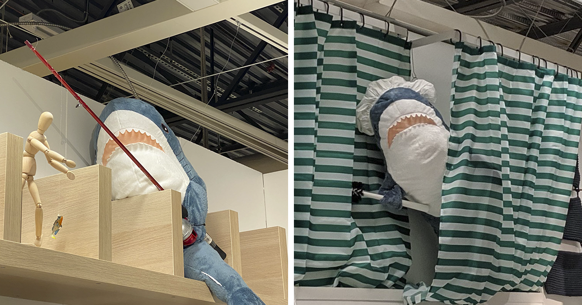 People Are Rearranging IKEA Shark Plushies To Make Their Shelf Lives More Interesting