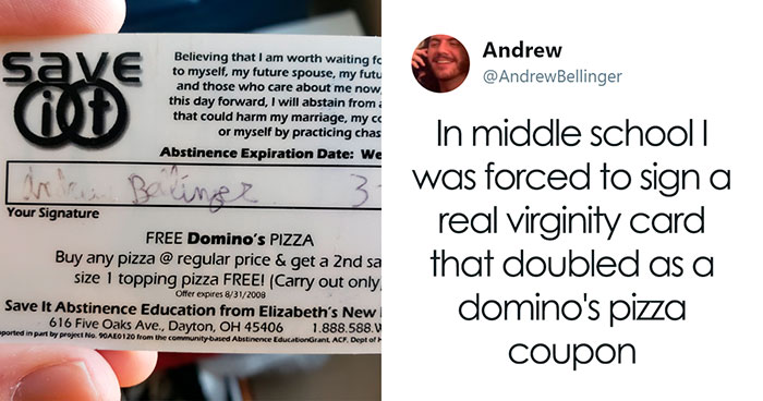 People Are Ridiculing Sex Ed In The USA After One Person Shares How He Had To Sign A Virginity Card That Was Also A Pizza Coupon