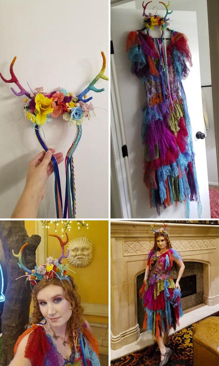 Vestido de hada con diadema de cuernos arco iris, lo mejor