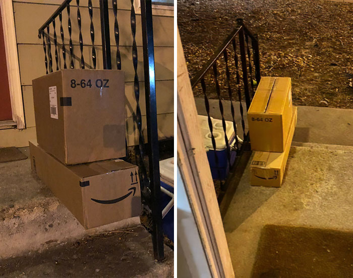 Sick & Tired Of Porch Pirates Taking Her Amazon Packages, This Woman Bamboozles Them Into Taking Her Garbage Instead