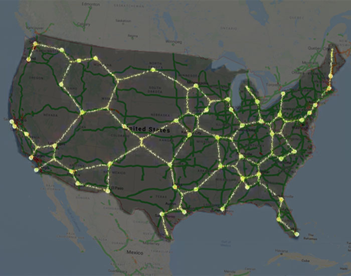 Scientists Used Slime Mold To Create The Most Efficient Traffic Map For The United States