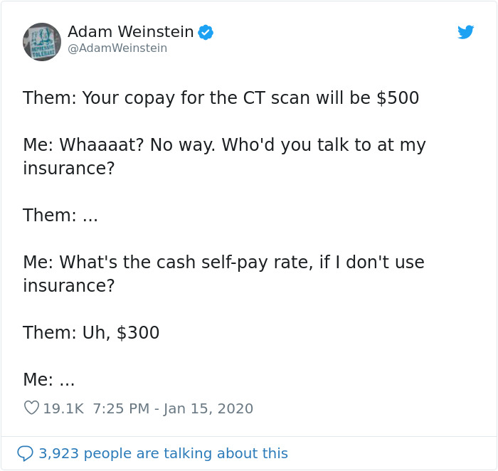 Person Shares His Story Of Trying To Get A CT Scan In America And It's Infuriating
