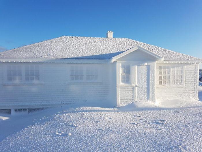 Ice Build Up On House In Cape Bonavista