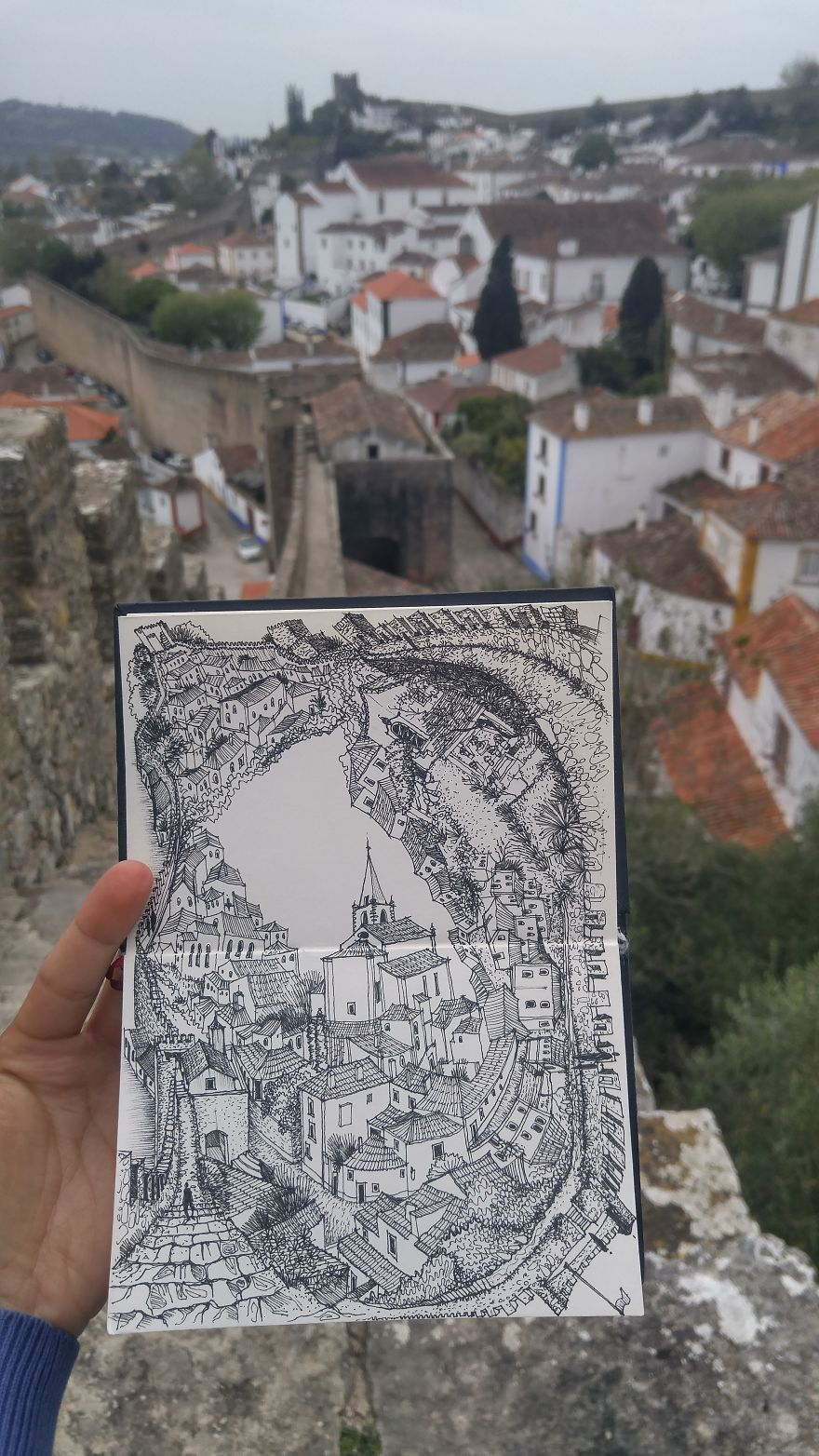 One Of My Absolute Favourite Compositions Depicting The City Of Obidos, Portugal With The Castel Walls Surrounding The Old Town