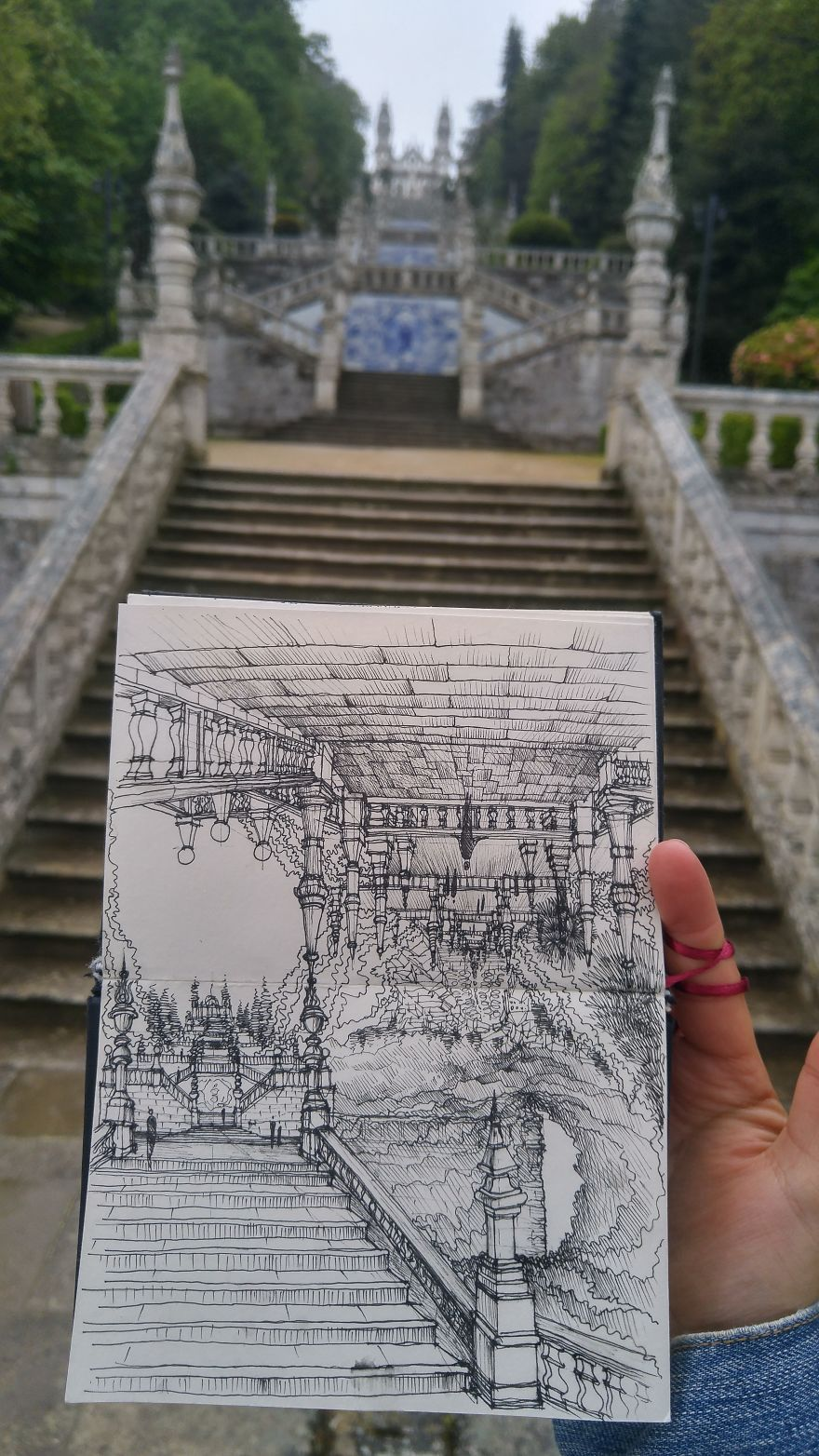 "This ""Stairway To Heaven"" View Looked Similarly Amazing From Top And Bottom, So I Had To Draw Both"
