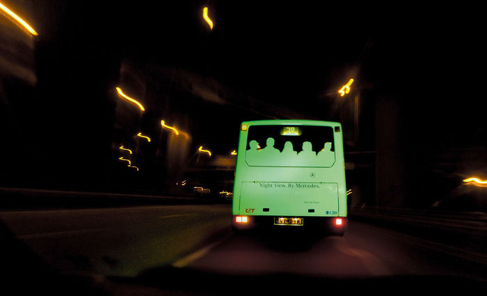 Mercedes: Glow In The Dark Bus
