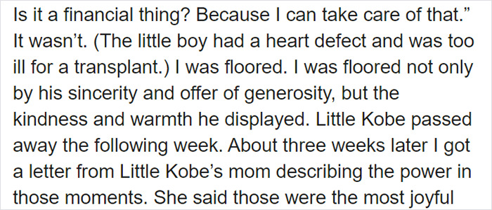 Woman Shares A Heartwarming Story On How Kobe Bryant Secretly Visited A Terminally Ill 5 Y.O. In Hospital