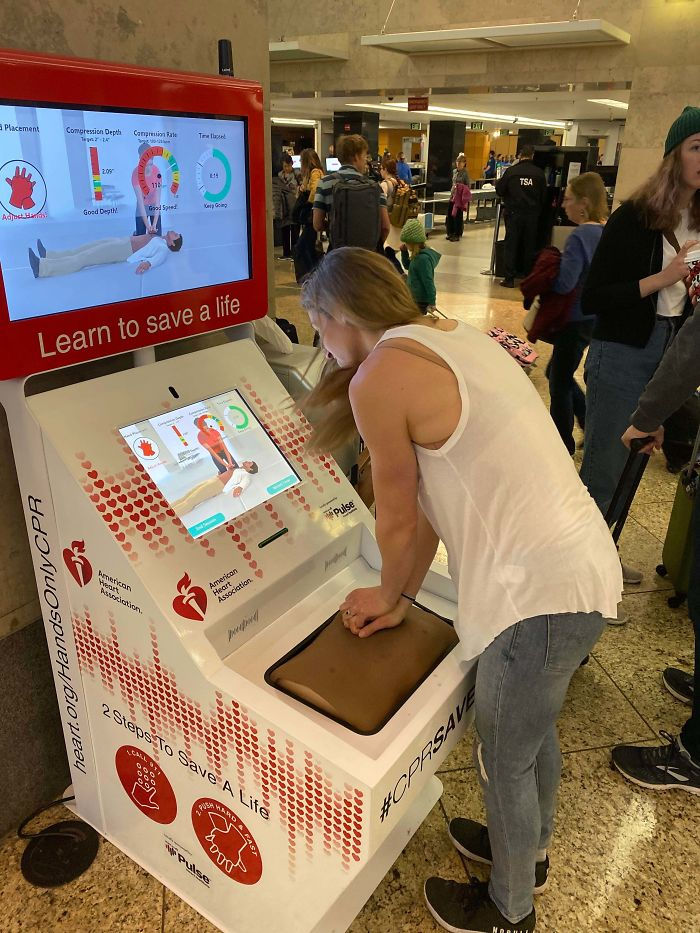 A Very Interactive CPR Training Kiosk At The Airport