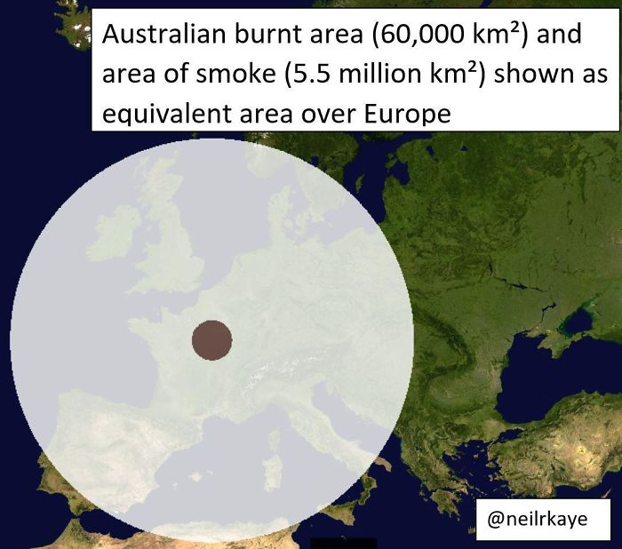 Area Of Land Burnt In Australia And Area Of Smoke Coverage Shown As Equivalent Area Over Europe