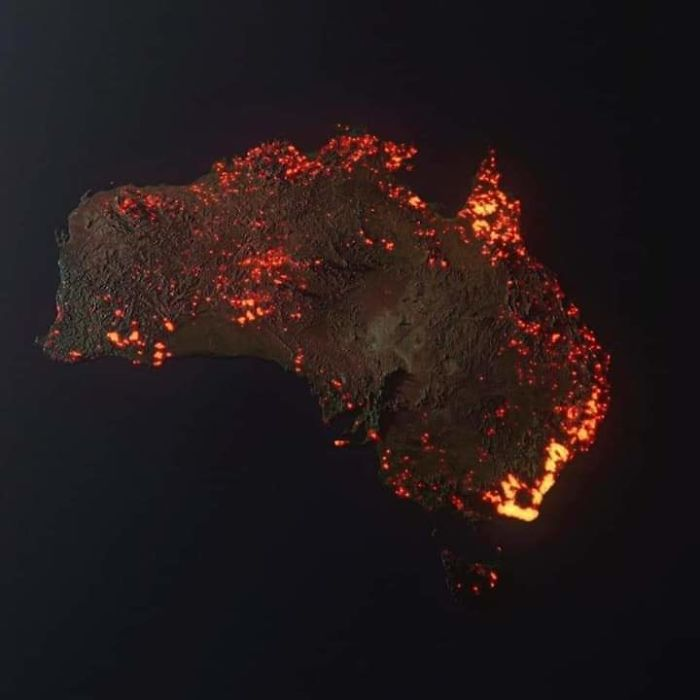 "3D ""Visualisation"" Of The Fires In Australia, Made From Nasa Satellite Data"
