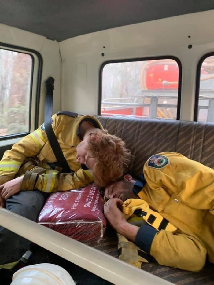Exhausted Firefighters In Australia