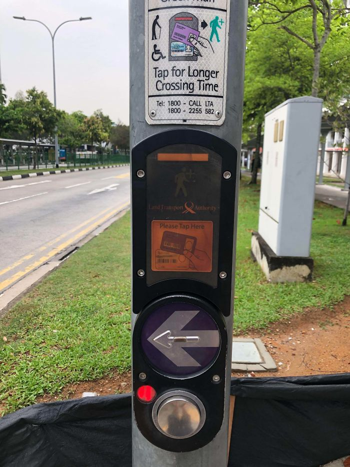 If You're An Elderly Or Disabled, You Will Receive A Card That Enables You To Cross The Road With A Longer Countdown Time (Singapore)