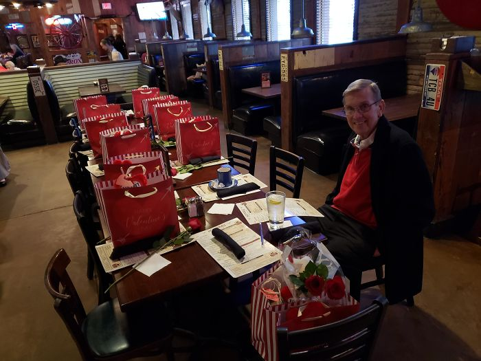 Every Valentine's Day This Amazing Gentleman Brings All The Widows From The Nursing/Retirement Home And Treat Them To Lunch And Gifts And A Rose For Each