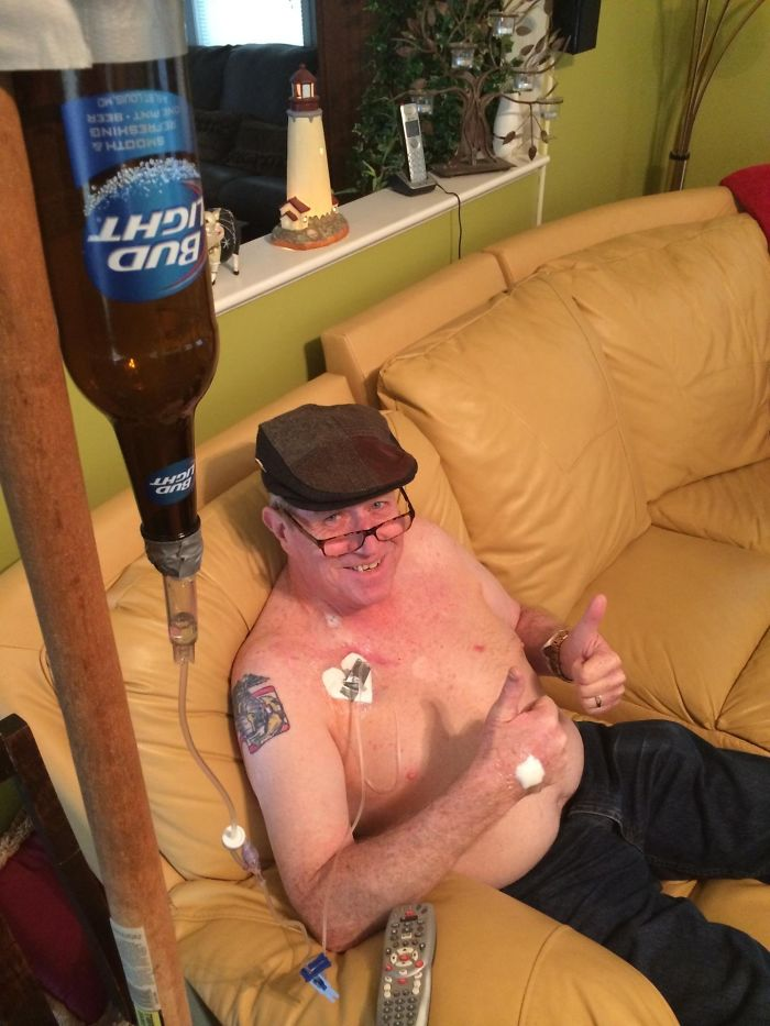 My Dad Just Got His Chest Port For Chemotherapy Today. Here He Is Testing It Out