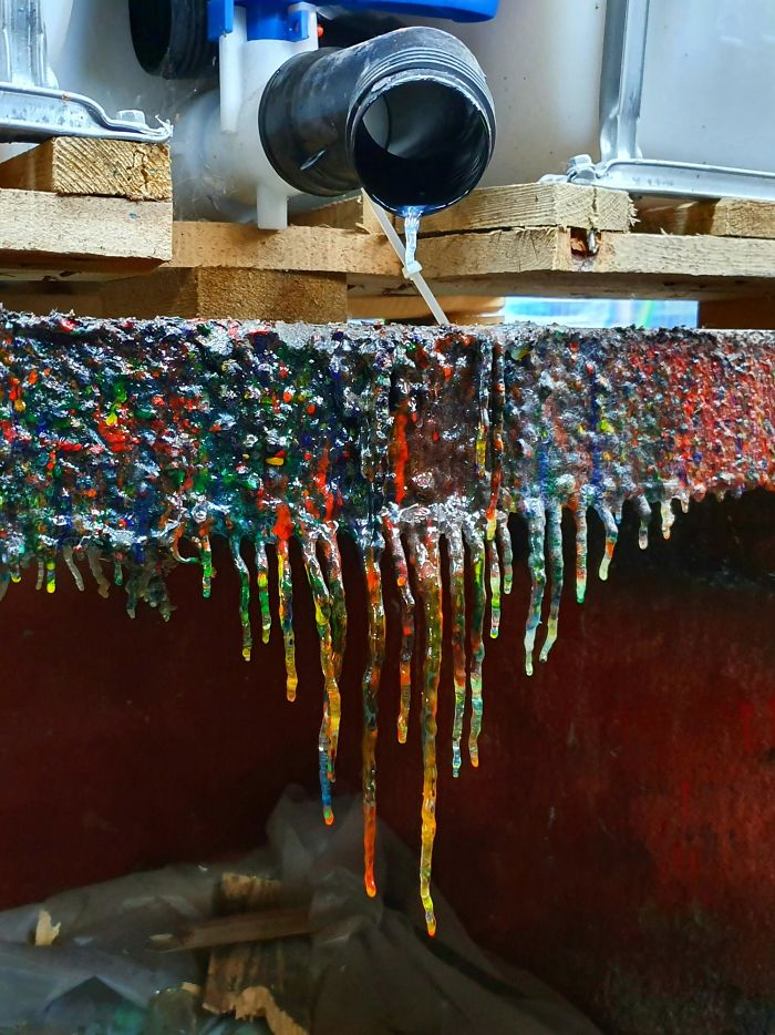 Rainbow Stalactites Formed From Years Of Dripping Dye