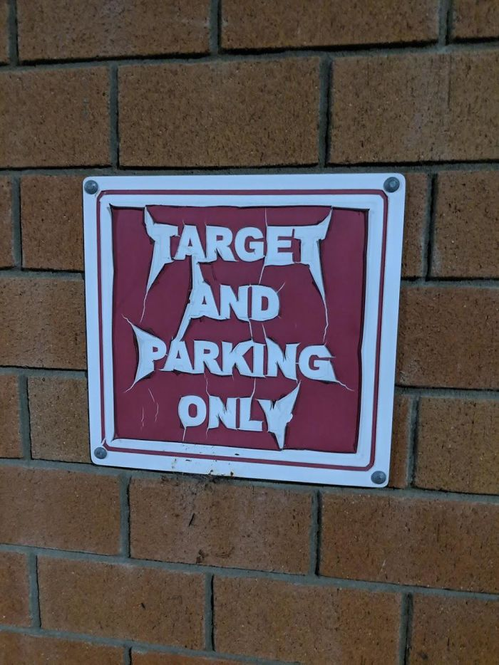 This Weathered Target Sign Looks Like A Heavy Metal Band Logo