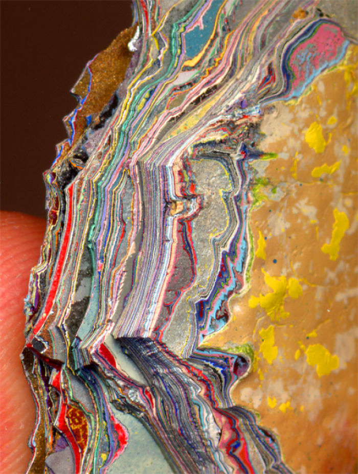 Layers Of Paint. It's A Piece Of The Wall In A Detroit Car Factory. People Have Actually Been Tumbling These And Calling Them Fordite Or Detroit Agate