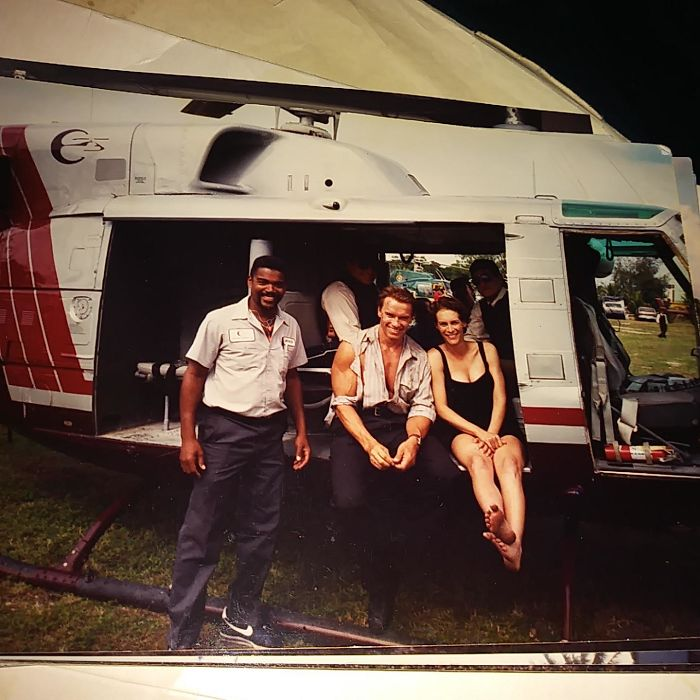 My Stepdad Did The All The Flight Rigging For Jamie Lee Curtis In True Lies. He's 70 This Year And Going Strong As An Ox. This Is Him With Arnold Schwarzenegger And Jamie Lee Curtis