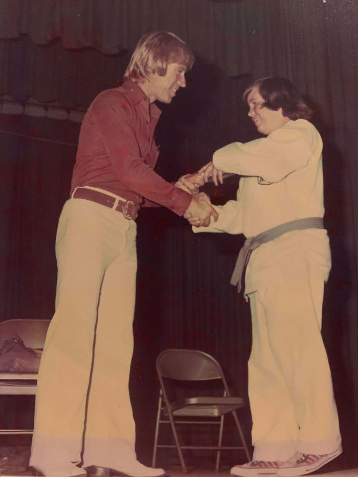 Mid To Late 1970s, My Dad Graduating A Class Taught By Chuck Norris