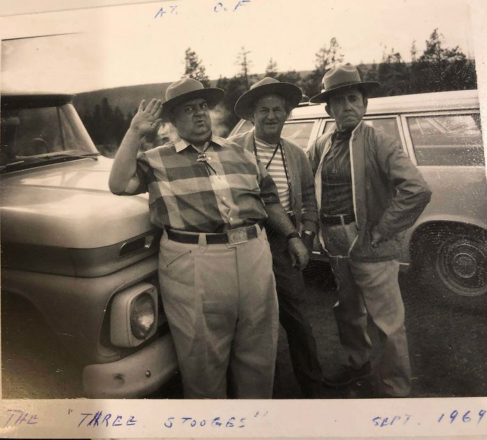 My Grandpa Worked As A Park Ranger In Yellowstone, Where He Took This Photo Of The Three Stooges When They Visited. 1969