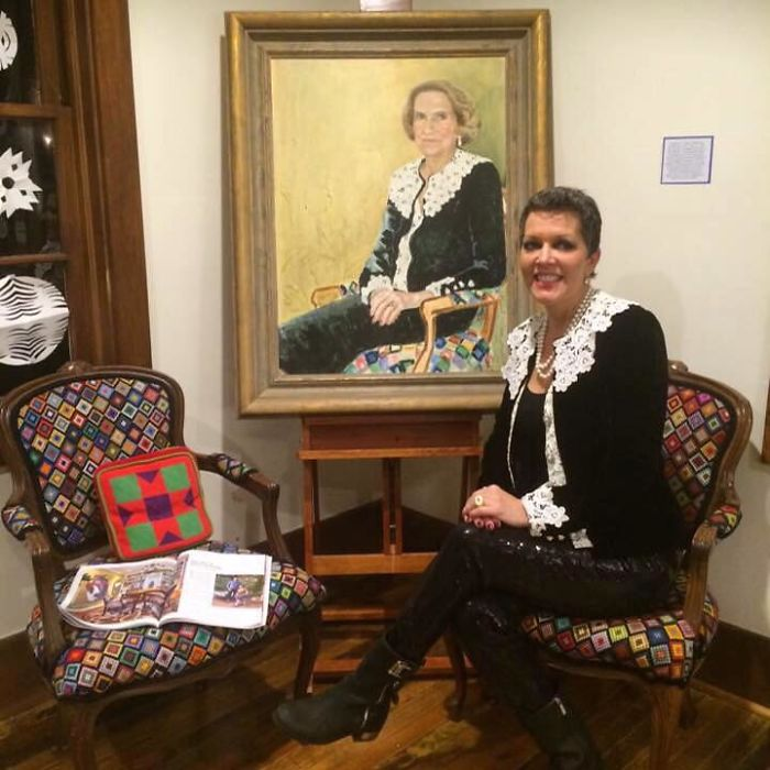 This Is A Portrait Of My Grandmother Seated In A Chair That She Needlepointed. I Am Sitting In A Chair She Helped Me To Needlepoint Wearing The Same Suit. I Inherited All.