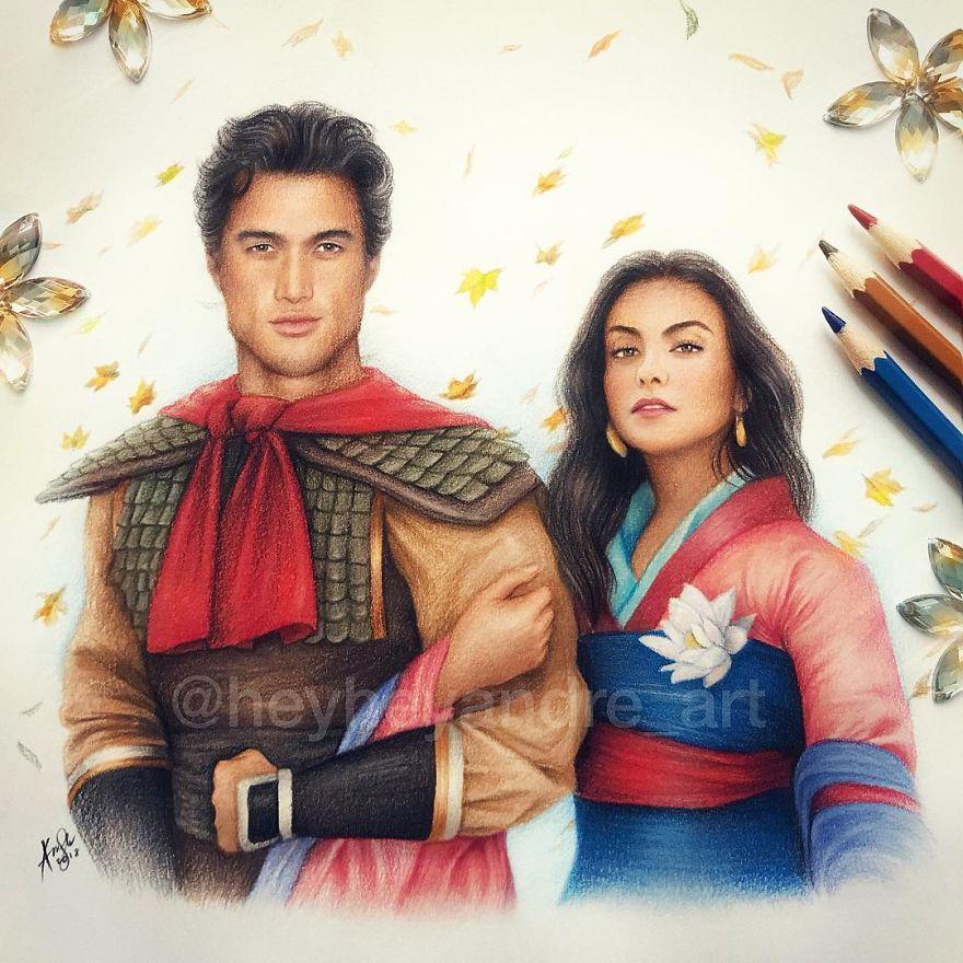 Charles Melton And Camila Mendes As Li Shang And Mulan