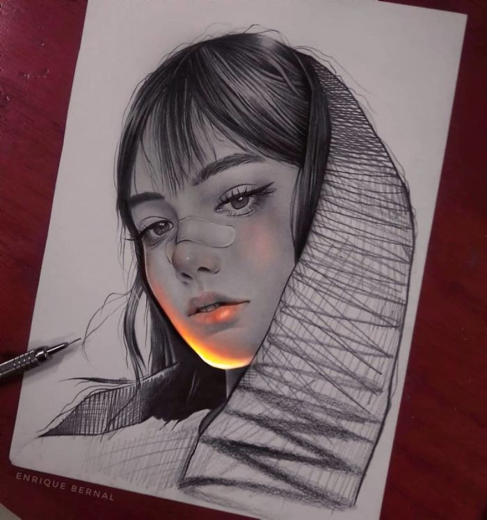 Pencil-Drawings-Glow-Enrique-Bernal