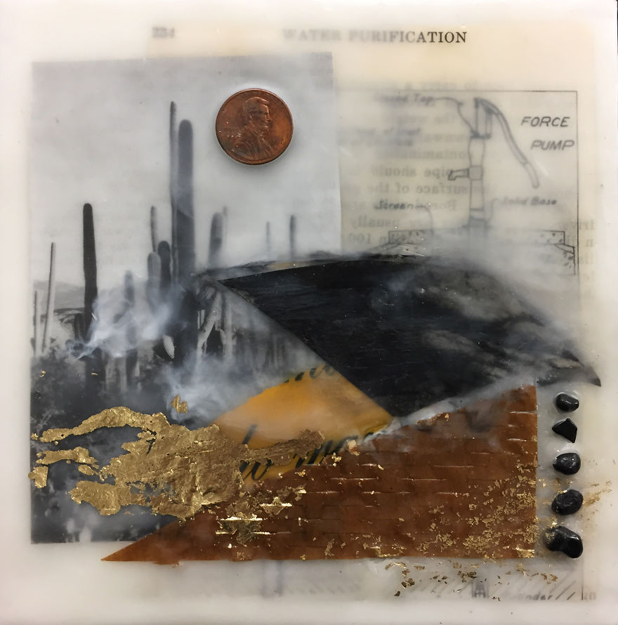 """""""Balance"""", 6x6, Encaustic Collage With Pebbles, Gold Leaf, And Penny"""