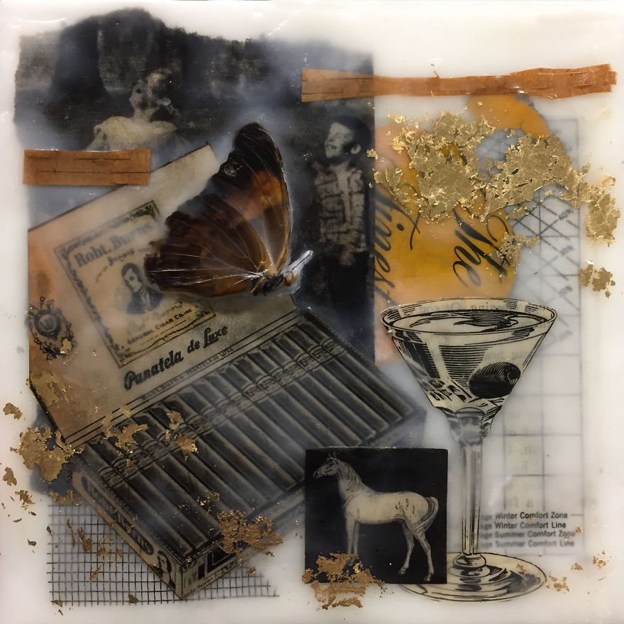"""""""Comfort Zone"""", 6x6, Encaustic Collage With Butterflies, Screen, And Gold Leaf"""