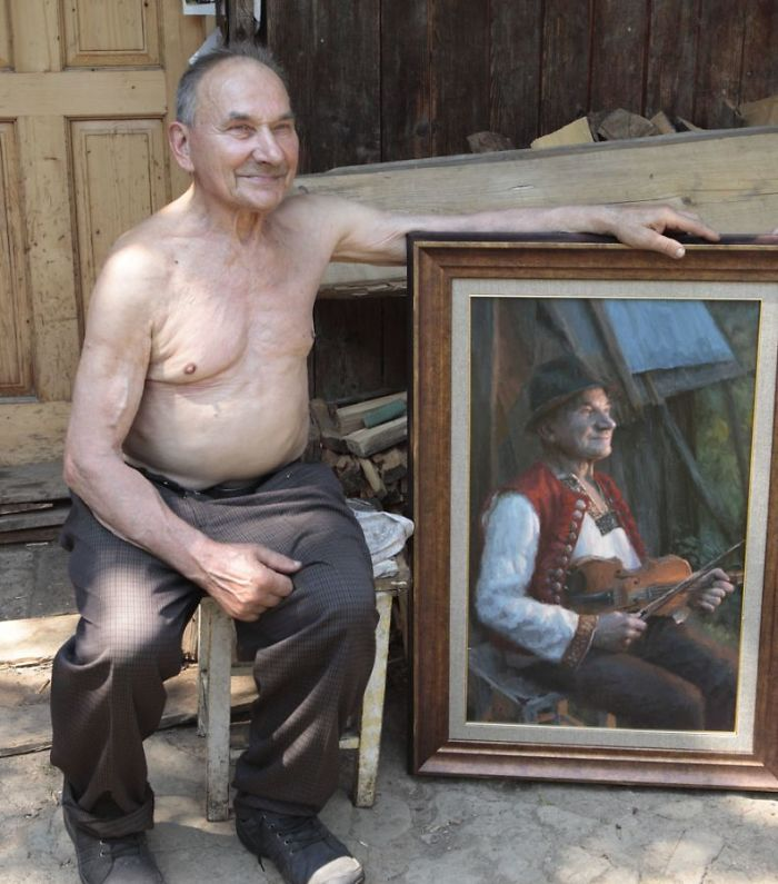 Polish Painter Puts Model And Painting Of Himself Side By Side And The Result Is Impressive
