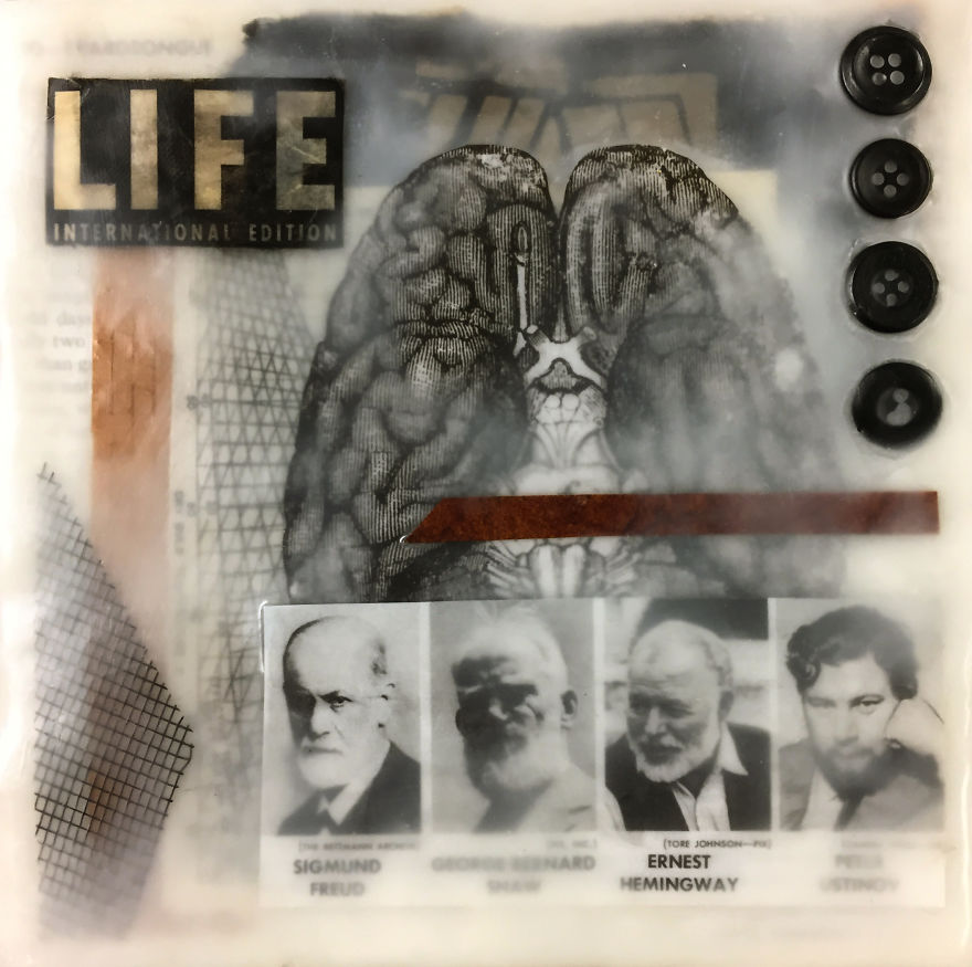 """""""Four Men Who Made Their Beards Famous"""", 6x6, Encaustic Collage With Buttons And Screen"""