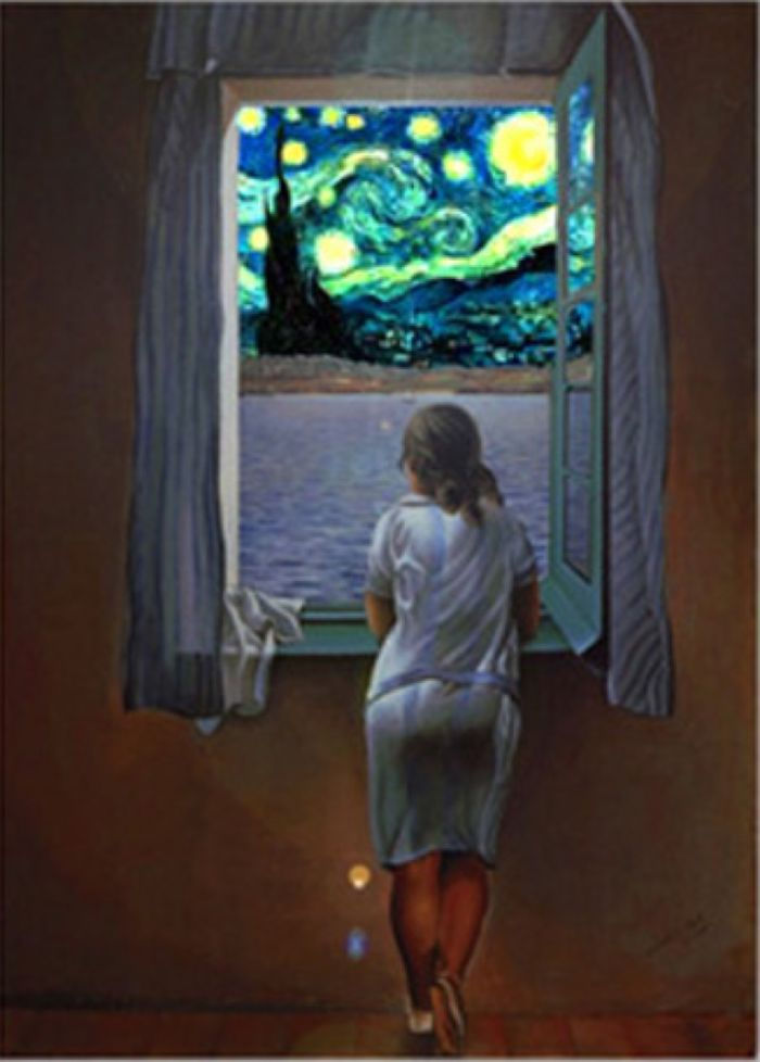 Dali's Young Woman Stares Out At Van Gogh's Starry Night