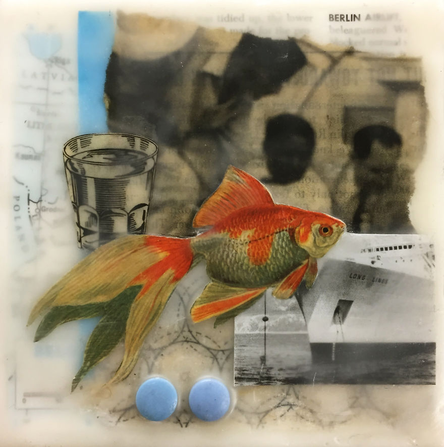 """""""Splash"""", 5x5, Encaustic Collage With Buttons"""