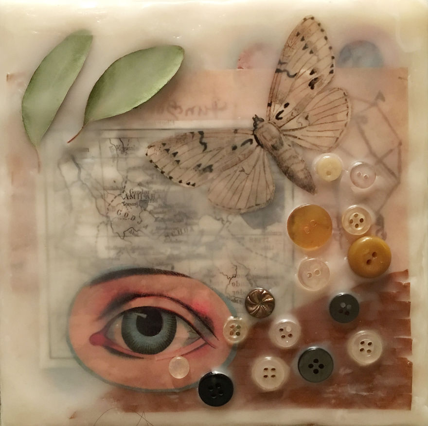 """""""Elevate"""", 6x6, Encaustic Collage With Buttons And Eucalyptus Leaves"""