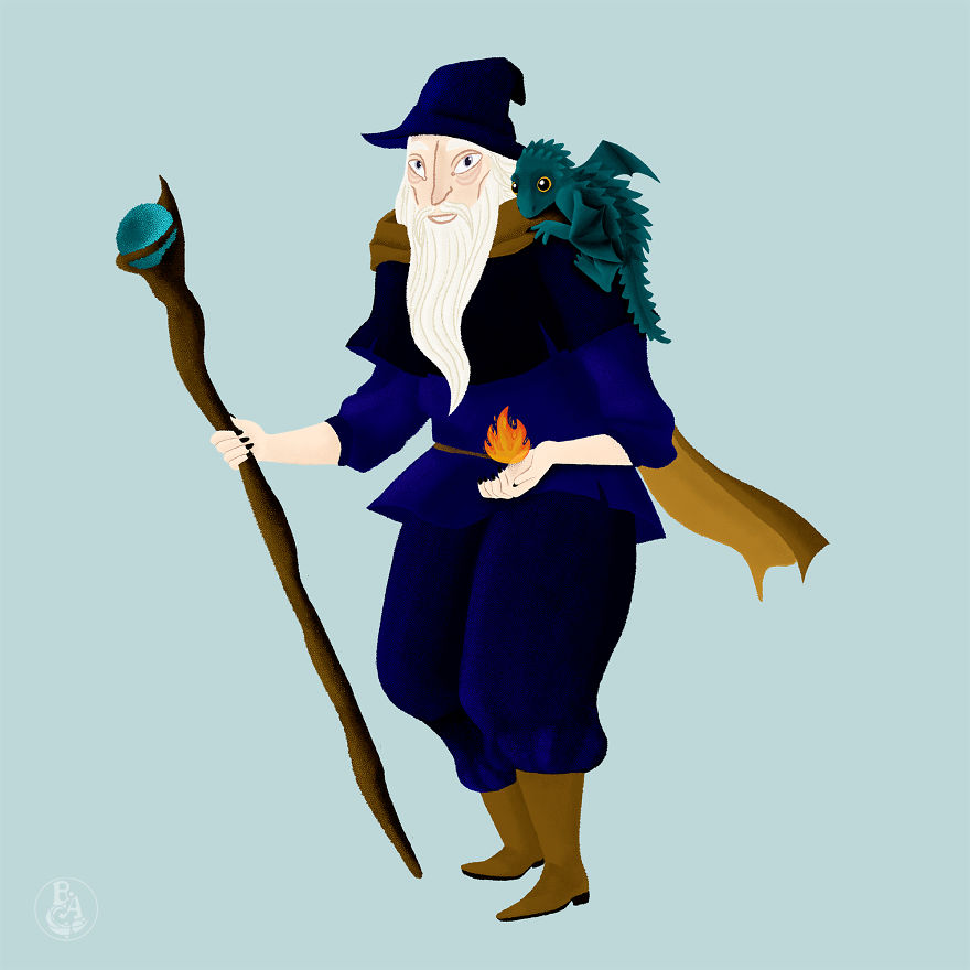 Old Wizard And His Baby Dragon