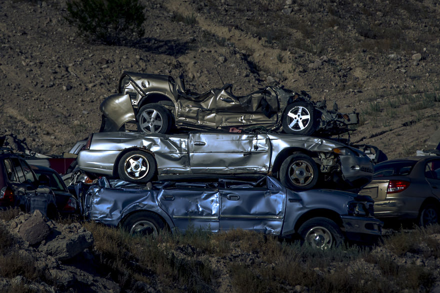 Wrecked Cars Stacked In Alamo, Nevada