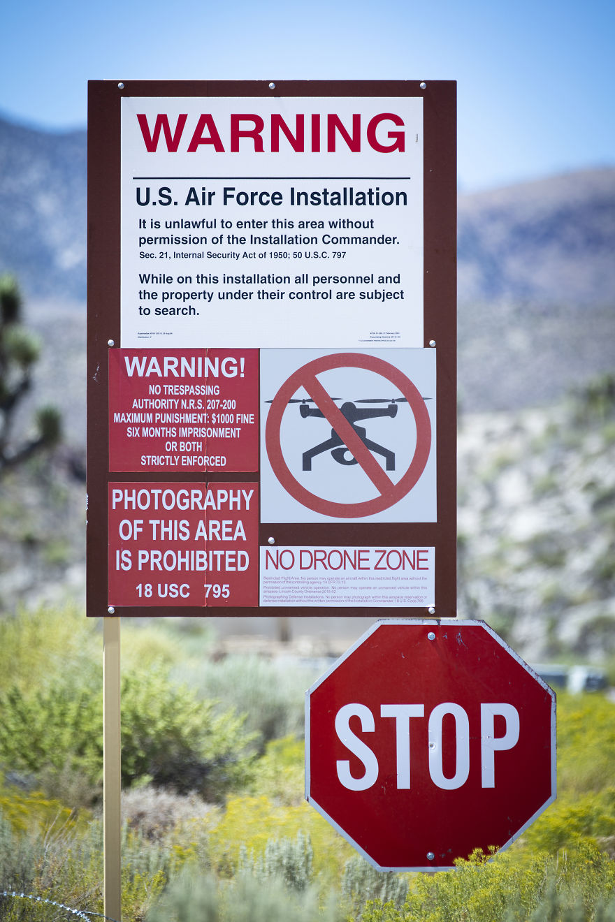 Signs At One Of The Back Entrances To Area 51