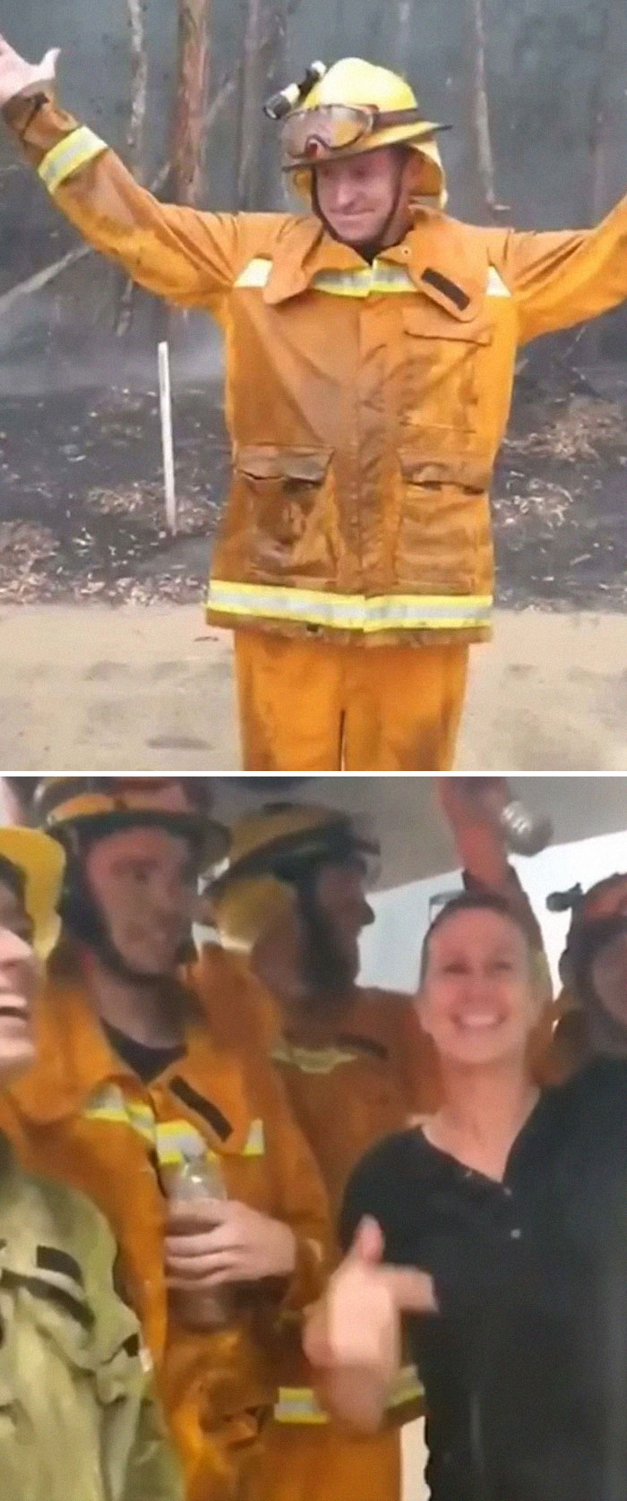 Firefighters Literally Dance In Joy As Rain Falls Over Raging Bush Fires That Have Burned Across Australia For Weeks