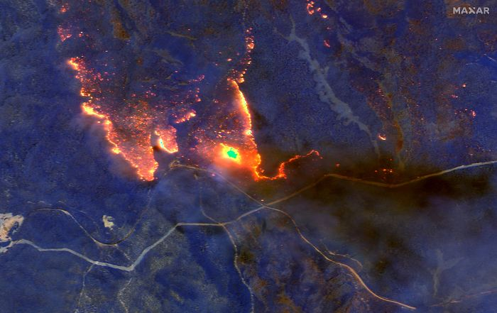 A Satellite Image Shows Wildfires Burning East Of Obrost, Victoria, Australia January 4, 2020