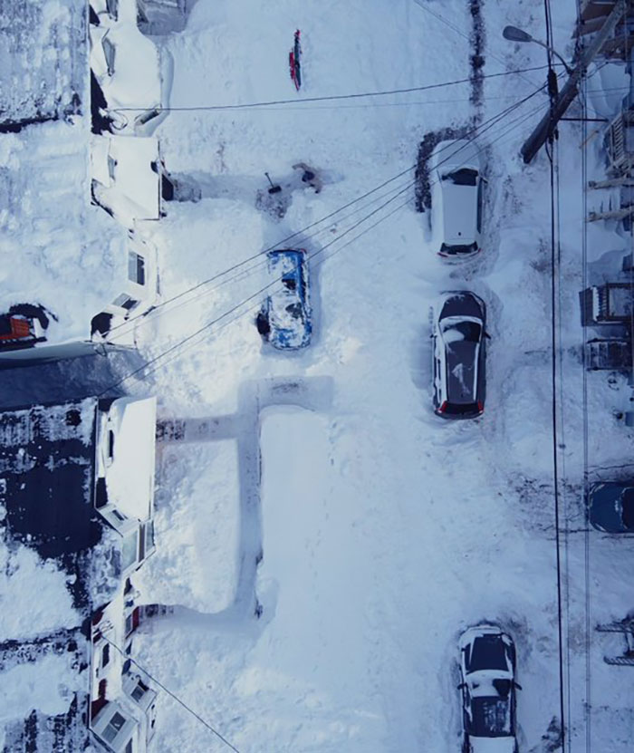 From The Air You Can See The Trenches To Reach Buried Cars