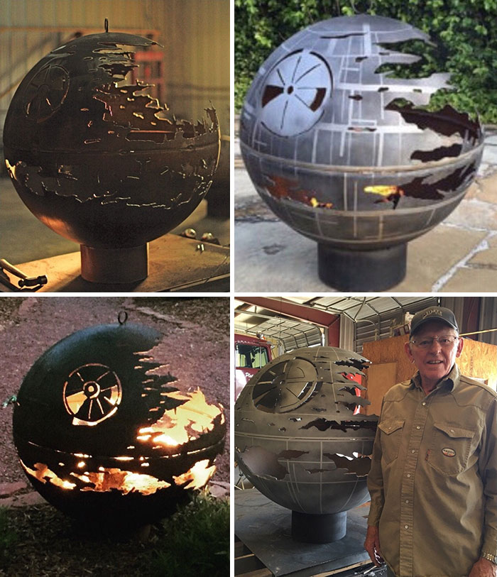 My Grandpa, At 86, Still Making And Improving His Death Star Fire Pits