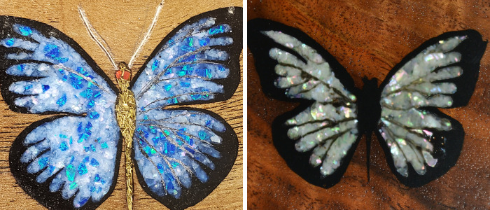 Butterfly Made With Inlaid Opal And Crushed Mother Of Pearl