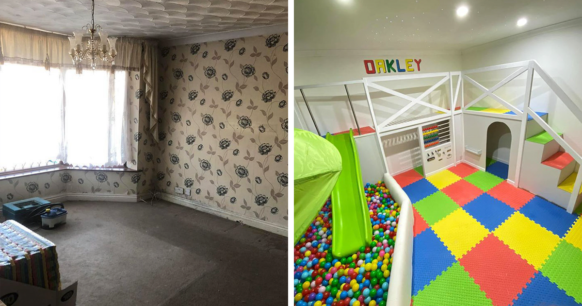 Dad Transforms His Living Room Into A Playroom For His Son With A Ball Pit And A Slide