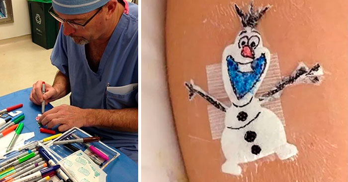 Wholesome Doctor Draws Cartoons On Kids' Post-Op Dressings